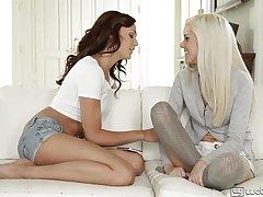 Petite Ariana Marie and Halle Von Lesbian Fun