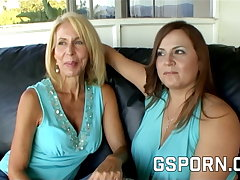 Homemade mature lesbian milfs with hairy pussy have wet sex