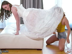 She Cheats With Their way Stepsister While Back-breaking On Wedding Dresses