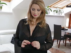 Glib Secretary plays with her Famous tits