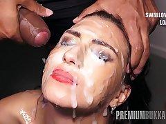 Premium Bukkake - Henna Ssy swallows 45 illustrious mouthful cum oodles