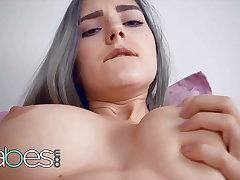 Bosomy Horny Babe Eva Elfie Masturbates Wits Themselves - Babes