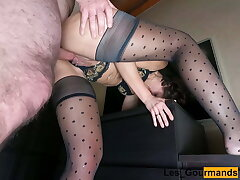 MILF taken from behind and creampied. View from below