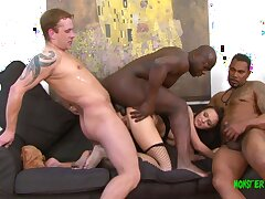 Beautiful Belle takes four big cocks in all her holes, dp