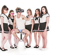 Michael Vegas Has VR Orgy with Babes round School Uniforms