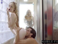Hot Shower Threesome With Petite Blondes Lily coupled with Elsa