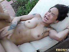 Ebony Honey Gold Takes Huge Cock
