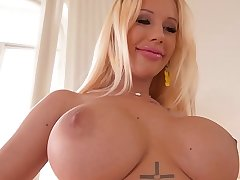 Busty porn bombshell Kyra Hot gets her big boobs fucked hard for cumshot
