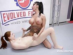 Lily Lane dominates Maya Kendrick in rough lesbian wrestling