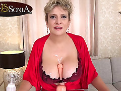 There jerk off instructions from busty mature Son Sonia