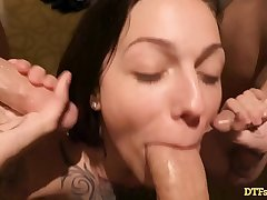 TATTOOED CUMDUMPSTER TAKES ON 3 DICKS On tap ONCE, GETS CREAMPIED AND A FACIAL! - Featuring: Harlow Harrison